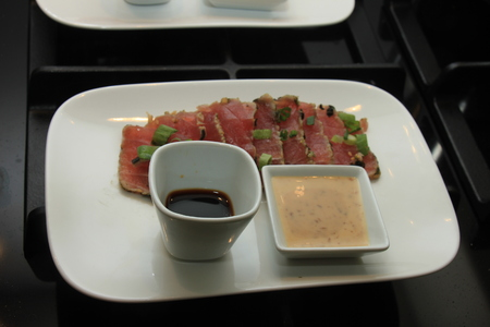 Sashimi: raw tuna fish and sesame dressing, Japanese cuisine