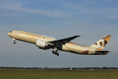 Amsterdam, the Netherlands  -  June 2nd, 2017: A6-DDE Etihad Airways Boeing 777F taking off from Polderbaan Runway Amsterdam Airport Schiphol