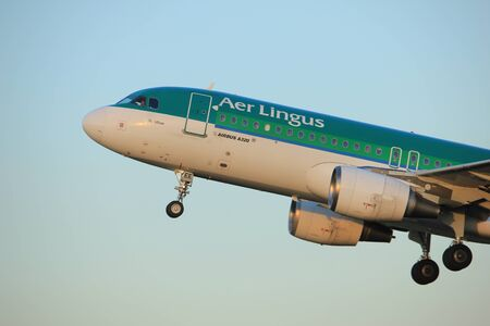 Amsterdam, the Netherlands  - June 1st, 2017: EI-DEE Aer Lingus Airbus A320-214 taking off from Polderbaan Runway Amsterdam Airport Schiphol