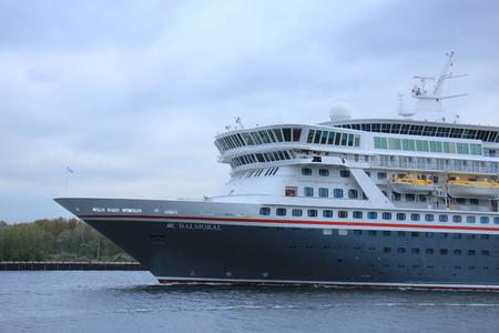 ijmuiden: Velsen, The Netherlands - April, 27th 2017: Balmoral Fred Olsen Cruise Lines in North Sea Canal towards IJmuiden sealock