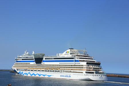 IJmuiden, the Netherlands -April 29th, 2017:   Aida Luna leaving IJmuiden on North sea canal Editorial