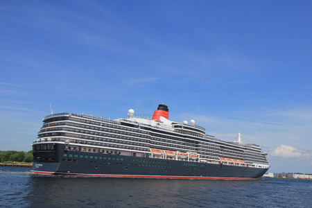 queen victoria: Velsen, The Netherlands - June 5th 2017: Queen Victoria, Cunard on North Sea Channel towards Amsterdam Editorial