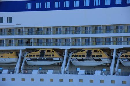 ijmuiden: IJmuiden, the Netherlands -April 29th, 2017:   Aida Luna safety vessels or lifeboats