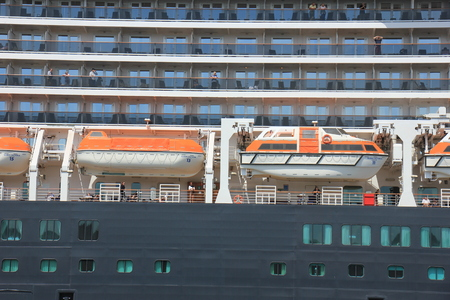 ijmuiden: IJmuiden, The Netherlands - June 5th 2017: Queen Victoria, Cunard on North Sea Channel, detail of life boats