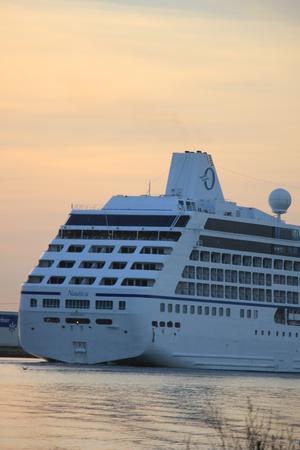 ijmuiden: Velsen, The Netherlands - June 15th 2017: Nautica - Oceania Cruises on North Sea Channel towards Amsterdam Cruise terminal