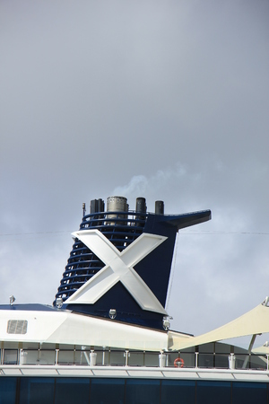 Velsen, The Netherlands - June 9th 2017: Celebrity Eclipse - Celebrity Cruises on North Sea Channel, detail of funnel