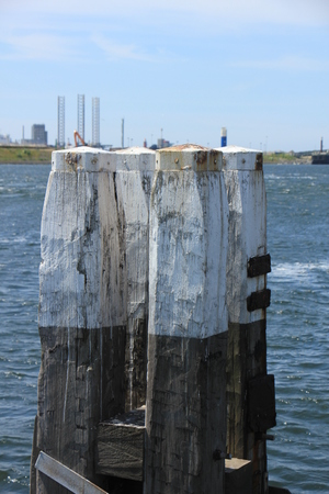 bollards: Dolphin structures near the North Sea lock Stock Photo