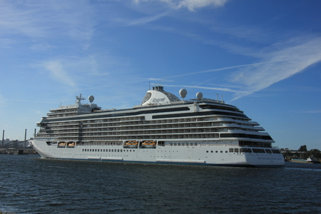 Velsen, The Netherlands - June 16th 2017: Seven Seas Explorer - Regent Cruises on North Sea Channel, towards North Sea