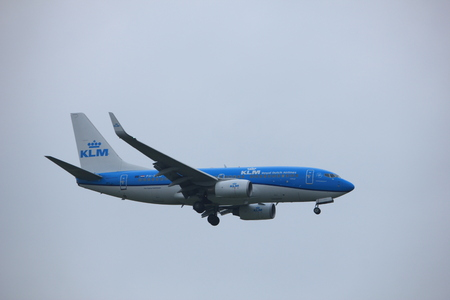 Amsterdam, the Netherlands - June 22nd 2017: PH-BGD KLM Royal Dutch Airlines Boeing 737 approaching Polderbaan runway at Schiphol Amsterdam Airport, the Netherlands