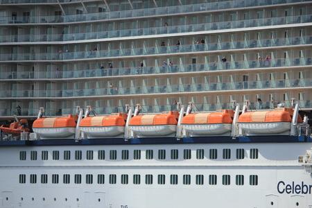 ijmuiden: Velsen, The Netherlands - June 9th 2017: Celebrity Eclipse - Celebrity Cruises on North Sea Channel towards IJmuiden sea lock, detail of passenger cabins
