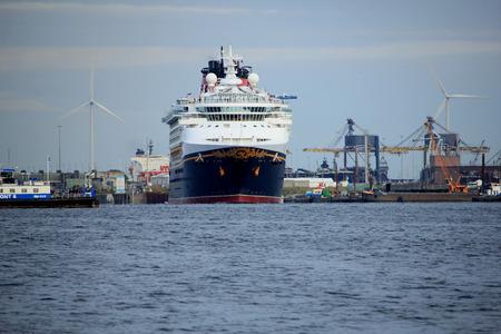 Velsen, the Netherlands - June, 27th 2017: Disney Magic on North Sea Canal , leaving IJmuiden Sea Lock Editorial