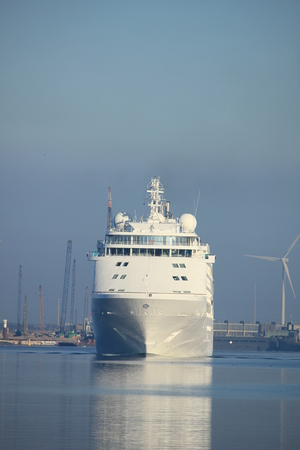 Velsen, The Netherlands - June 18th 2017: Silver Whisper- Silversea Cruises on North Sea Channel towards Amsterdam Cruise terminal