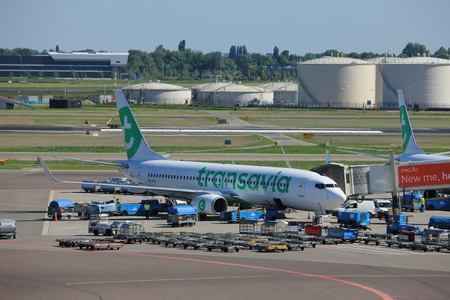 Amsterdam The Netherlands -  May 26th 2017: PH-HZL Transavia Boeing 737 parked at gate at Schiphol International Airport Editorial