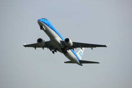 polderbaan: Amsterdam, the Netherlands  -  June 2nd, 2017: PH-EZA KLM Cityhopper Embraer ERJ-190STD taking off from Polderbaan Runway Amsterdam Airport Schiphol Editorial