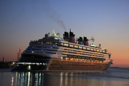 ijmuiden: IJmuiden, the Netherlands - May, 25th 2017: Disney Magic leaving North Sea lock, IJmuiden.