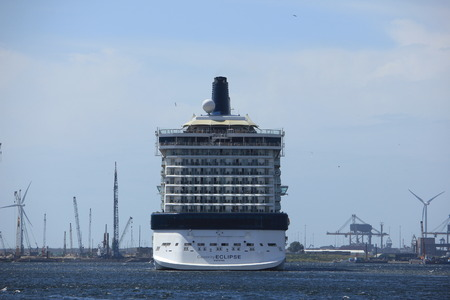 towards: Velsen, The Netherlands - June 9th 2017: Celebrity Eclipse - Celebrity Cruises on North Sea Channel towards IJmuiden sea lock and North Sea