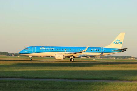 Amsterdam, the Netherlands  -  June 2nd, 2017: PH-EXE KLM Cityhopper Embraer ERJ-190STD taking off from Polderbaan Runway Amsterdam Airport Schiphol