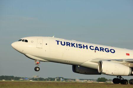 polderbaan: Amsterdam, the Netherlands  - June 1st, 2017: TC-JOV Turkish Airlines Airbus A330-200F taking off from Polderbaan Runway Amsterdam Airport Schiphol
