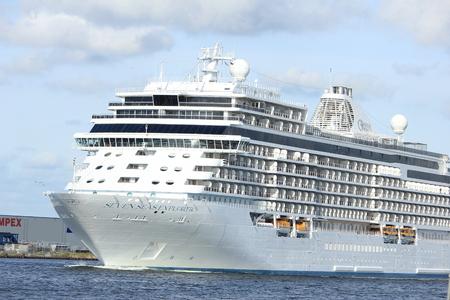 regent: Velsen, The Netherlands - June 16th 2017: Seven Seas Explorer - Regent Cruises on North Sea Channel, towards North Sea