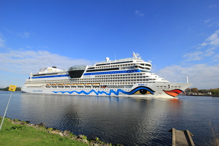 Velsen, the Netherlands -April 19th, 2017:   Aida Sol on North Sea Canal, on its way to the Amsterdam Cruise Terminal Editöryel