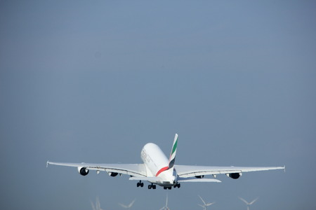 polderbaan: Amsterdam the Netherlands - May 6th, 2017: A6-EEX Emirates Airbus A380-800 takeoff from Polderbaan runway, Amsterdam Schiphol Airport