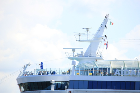 ijmuiden: IJmuiden, the Netherlands -April 29th, 2017:   Aida Luna at Felison Cruise Terminal IJmuiden, detail of ship