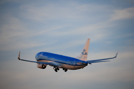 Amsterdam, the Netherlands  - June 1st, 2017: PH-HSE KLM Royal Dutch Airlines Boeing 737-800 taking off from Polderbaan Runway Amsterdam Airport Schiphol