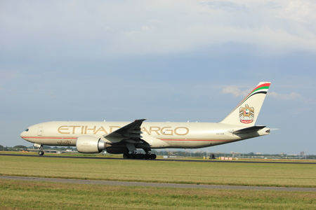Amsterdam the Netherlands - July 6th, 2017: A6-DDB Etihad Airways Boeing 777-FFX takeoff from Polderbaan runway, Amsterdam Schiphol Airport