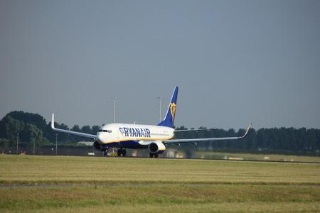 Amsterdam the Netherlands - July 6th, 2017: EI-FTW Ryanair Boeing 737-800 takeoff from Polderbaan runway, Amsterdam Schiphol Airport Editorial