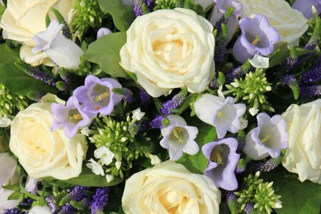 mixed marriage: Mixed flower arrangement: wedding flowers in white and pale blue