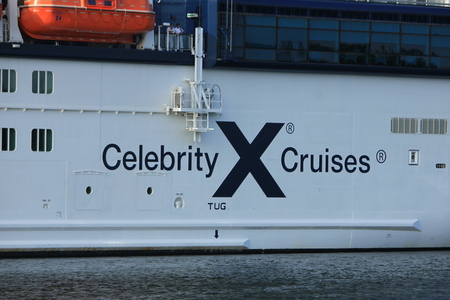 Velsen, The Netherlands - July 20th 2017: Celebrity Silhouette is a Solstice-class cruise ship, owned and operated by Celebrity Cruises, built by Meyer Werft, Papenburg. The Silhouette is 315 m (1,033 ft) long.