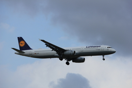 Amsterdam the Netherlands - July 20th 2017: D-AIRP Lufthansa Airbus A321  approaching Schiphol Amsterdam Airport Polderbaan runway