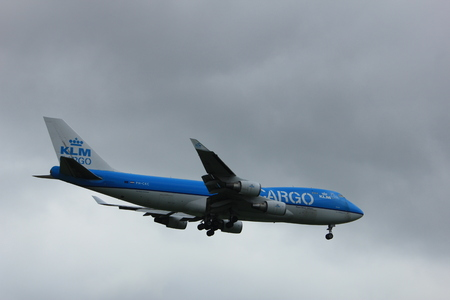boeing 747: Amsterdam the Netherlands - July 20th 2017: PH-CKC KLM Royal Dutch Airlines Boeing 747-400F approaching Schiphol Amsterdam Airport Polderbaan runway