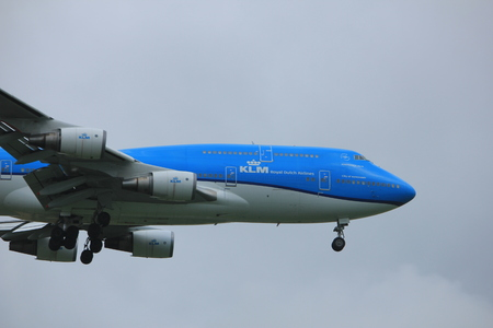 Amsterdam the Netherlands - July 20th 2017: PH-BVG KLM Royal Dutch Airlines Boeing 777 approaching Schiphol Amsterdam Airport Polderbaan runway