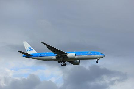 Amsterdam the Netherlands - July 20th 2017: PH-BQA KLM Royal Dutch Airlines Boeing 777 approaching Schiphol Amsterdam Airport Polderbaan runway