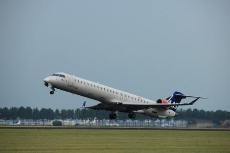 Amsterdam the Netherlands - July 6th, 2017: OY-KFE SAS Scandinavian Airlines Canadair CRJ-900 takeoff from Polderbaan runway, Amsterdam Schiphol Airport