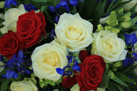 Wedding flowers in red white and blue patriotic theme wedding stock photo wedding flowers in red white and blue patriotic theme wedding mightylinksfo