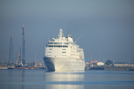 ijmuiden: Velsen, The Netherlands - June 18th 2017: Silver Whisper- Silversea Cruises on North Sea Channel towards Amsterdam Cruise terminal