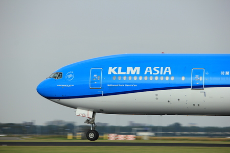 Amsterdam the Netherlands - July 6th, 2017: PH-BVC KLM Royal Dutch Airlines Boeing 777-300 takeoff from Polderbaan runway, Amsterdam Schiphol Airport Editorial