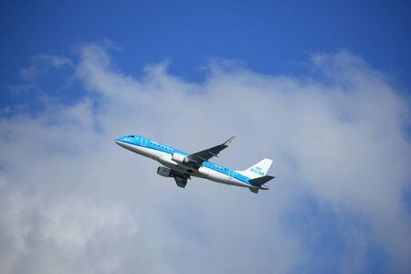 Amsterdam the Netherlands - September 23rd 2017: PH-EXN KLM Cityhopper Embraer ERJ-175STD takeoff from Kaagbaan runway, Amsterdam Airport Schiphol