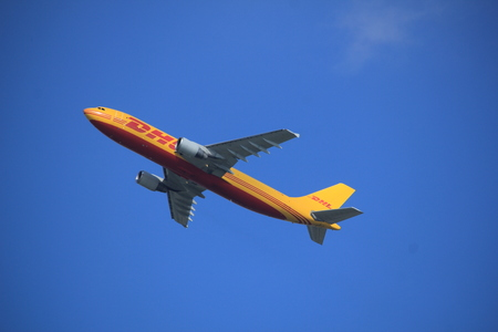 Amsterdam the Netherlands - September 23rd 2017: D-AEAI EAT DHL Leipzig A300 takeoff from Kaagbaan runway, Amsterdam Airport Schiphol
