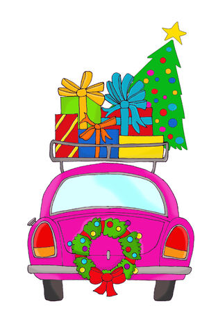 Pink car with Christmas gifts on its roof Stock Photo
