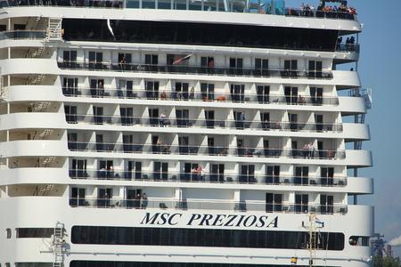 Velsen, The Netherlands - september 23rd, 2017: MSC Preziosa, detail of the stern Redakční