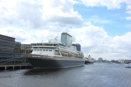 Amsterdam, The Netherlands - April, 27th 2017: Balmoral Fred Olsen Cruise Lines docked at Passenger Terminal Amsterdam