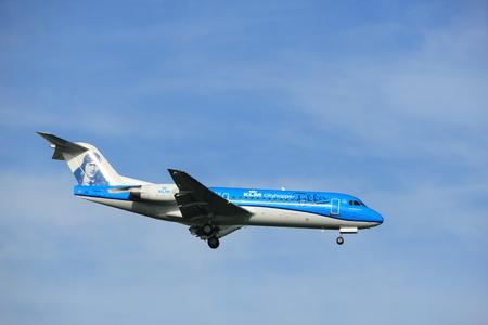 Amsterdam the Netherlands - July 7th 2017: PH-KZU KLM Cityhopper Fokker F70 approaching Schiphol Amsterdam Airport, painted in Anthony Fokker special colours