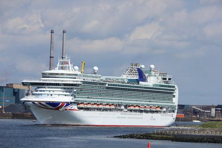 IJmuiden, the Netherlands -April 29th, 2017:   Ventura P & O Cruises leaving IJmuiden sea lock Editorial
