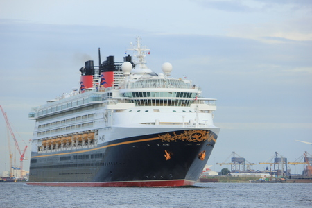 Velsen, the Netherlands - June, 27th 2017: Disney Magic on North Sea Canal, sailing towards Amsterdam Cruise terminal