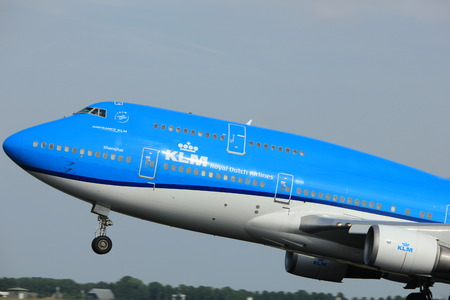 Amsterdam, the Netherlands  -  June 2nd, 2017: PH-BFW KLM Royal Dutch Airlines Boeing 747-400M taking off from Polderbaan Runway Amsterdam Airport Schiphol