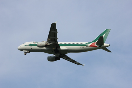 Amsterdam, the Netherlands  -  June 2nd, 2017: EI-IKU Alitalia Airbus A320-200 taking off from Polderbaan Runway Amsterdam Airport Schiphol Editorial
