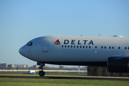 Amsterdam the Netherlands - January 7th 2018: N194DN Delta Air Lines Boeing 767-300 takeoff from Polderbaan runway.
